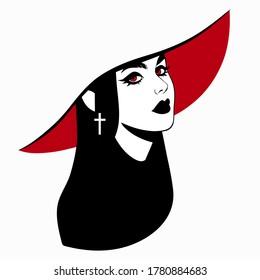 beautiful elegant vampire girl in hat