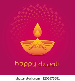 A beautiful and elegant vector design of traditional Diwali lamp. 'Happy Diwali' greeting card cover with english text.