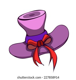 A beautiful Elegant Violet Lady Hat with a red Bow, isolated on White Background.