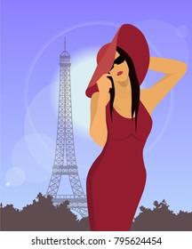 Beautiful elegant woman against the background of the Eiffel tower. Lady in Paris. Girl in hat and red dress. Beautiful fashion woman model. Female portrait in Paris. Fashion illustration.