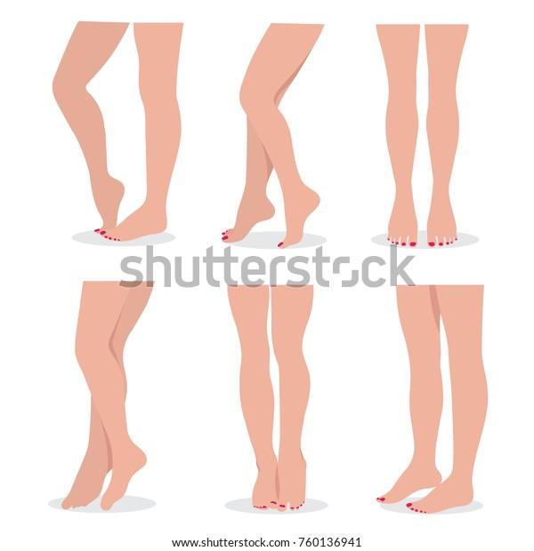 Hermosas Piernas Y Pies De Mujer Elegantes En Diferentes Poses Aisladas Conjunto Vectorial Joven Pie Delgado