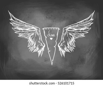 Beautiful Emblem With Wings / Graphic Image / Illustration Informal Attributes / It Can Be Used For Printing On T-Shirts Or Ideas For Tattoos / Imitation Of Chalk
