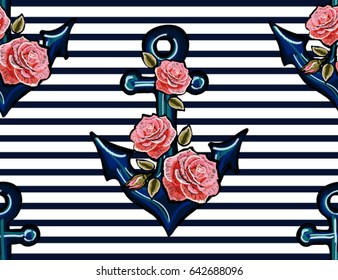 Beautiful  embroidery pattern with exotic anchor and  pink roses. Vector trend fashion floral illustration on black background for clothing design.