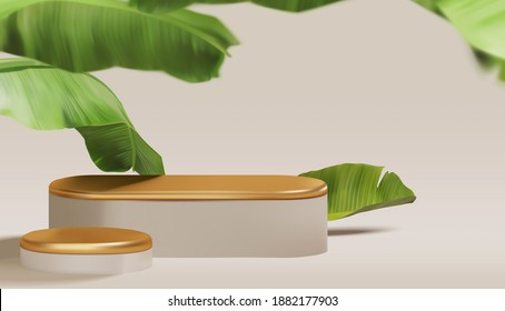 Beautiful empty gold podium with realistic banana leaves. summer theme, fashion, cosmetic product display presentation mockup vector template