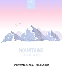 Beautiful epic view on a mountains. Vector illustration
