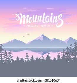 Beautiful epic view on a mountains, forest and lake. Amazing sunset. Vector illustration. Panorama of the nature
