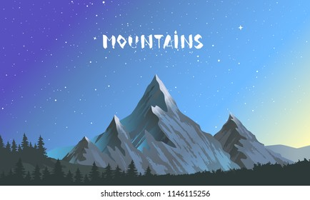 Beautiful epic view on a peak mountains. Panorama of Amazing nature. Vector illustration