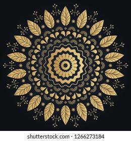 Beautiful ethnic golden flower ornamental wreath on dark background. Vector boho lifestyle illustration.