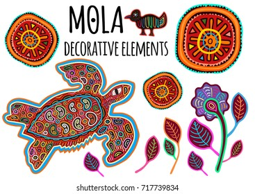 Beautiful ethnic vector elements in Mola style. Patchwork exotic animals collection. Indian atmosphere, tribal design. Perfect templates for print, posters, textile and t-shirts.