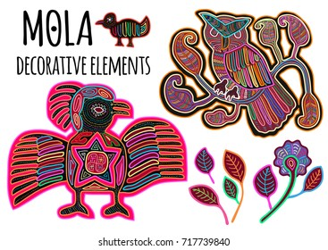 Beautiful ethnic vector elements in Mola style. Patchwork exotic birds collection. Indian atmosphere, tribal design. Perfect templates for print, posters, textile and t-shirts.