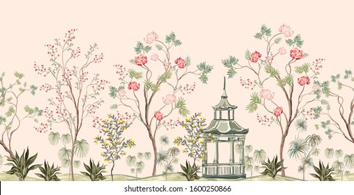 Beautiful exotic chinoiserie seamless pattern. Hand drawn vintage chinese rose trees, sakura, palms, flowers, pavilion, lemon trees. Floral seamless border pink background.