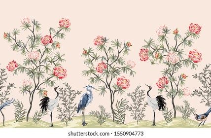 Beautiful exotic chinoiserie wallpaper. Hand drawn vintage chinese rose trees, palms, flowers, crane bird, heron, pheasant. Floral seamless border pink background.