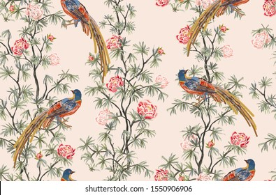 Beautiful exotic chinoiserie wallpaper. Hand drawn vintage chinese rose trees, palms, flowers, birds. Floral seamless border pink background.