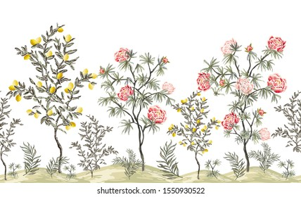 Beautiful exotic chinoiserie wallpaper. Hand drawn vintage chinese rose trees, palms, flowers, lemon tree. Floral seamless border pink background.