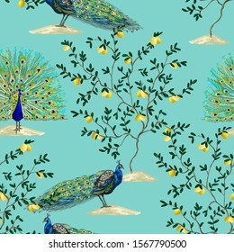 Beautiful exotic chinoiserie wallpaper. Hand drawn vintage lemon trees, peacoks. Floral seamless border jungle background.