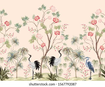 Beautiful exotic chinoiserie wallpaper. Hand drawn vintage chinese rose trees, palms, sakura flowers, peonies, crane bird, heron, pheasant. Floral seamless border pink background.