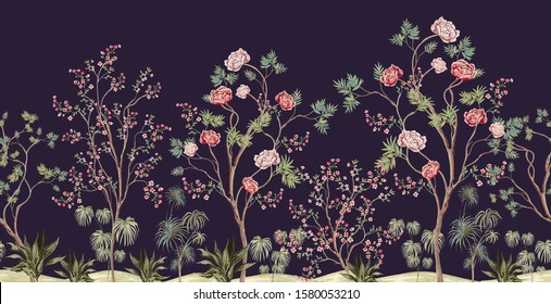 Beautiful exotic chinoiserie wallpaper. Hand drawn vintage chinese rose trees, palms, flowers, sakura Floral seamless border blue background.