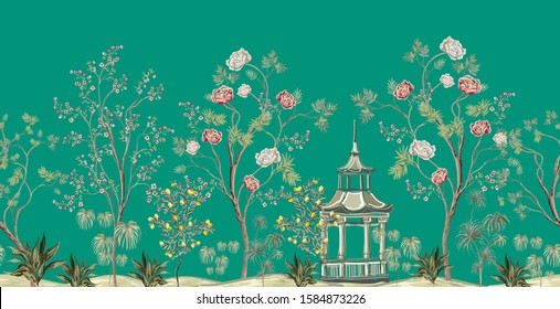 Beautiful exotic chinoiserie wallpaper. Hand drawn vintage chinese rose trees, palms, flowers, lemon tree, pavilion. Floral seamless border pink background.