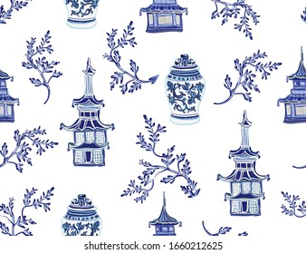 Beautiful exotic chinoiserie wallpaper. Hand drawn vintage chinese sakura trees, vases, padogas. Floral seamless illustration on white  background.