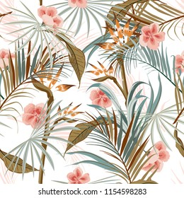 Beautiful Exotic Retro vintage tropical wild forest with palm trees ,flowers,leaves,foliage seamless pattern in vector suits for fashion,fabric and all prints on white background.