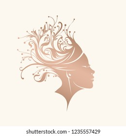 Beautiful exotic woman portrait with flowers and plants in her head.Hairstyle with organic, natural elements.Nature and beauty icon isolated on light background.