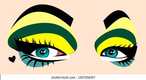 beautiful, expressive green eyes women