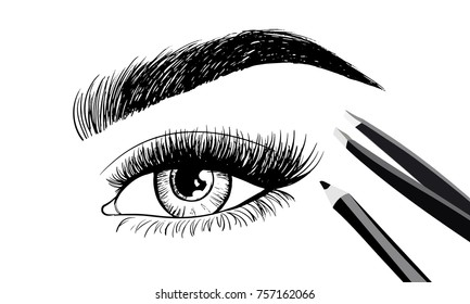 Beautiful eye and eyebrows with set of tools and accessories for care of eyebrows. Eyebrow pencil and tweezers. Vector beauty industry design. Cosmetics logo, label, brand insignia signs template.