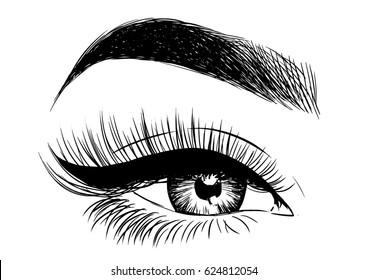 beautiful eye with eyeliner and false lashes