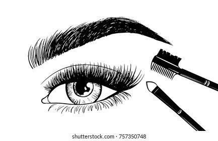 Beautiful eyebrows and open eye with set makeup tools and accessories. Images for the beauty salon with instruments for the master of the eyebrows