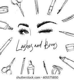 Beautiful eyebrows and winking eyes. Images for the beauty salon with instruments for the master of the eyebrows