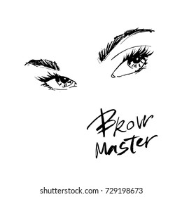 Beautiful eyes and eyebrows for the logo of the master on the eyebrows.
