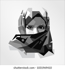 beautiful face of Arabic Moslem Muslim woman girl hijab, template vector illustration
