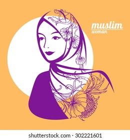 beautiful face of arabic muslim woman, vector illustration