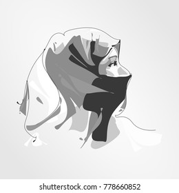 beautiful face of Arabic Muslim woman hijab, vector illustration