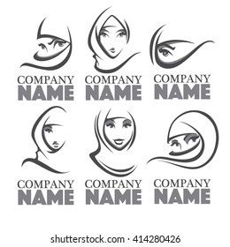 beautiful face of arabic woman, vector illustration