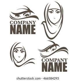 beautiful face of arabic woman, vector illustration for your logo