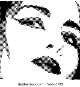 Beautiful face of the girl. Halftone. Black and White.