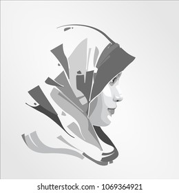 beautiful face side Arabic Moslem Muslim woman girl hijab, template vector illustration