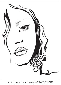 A beautiful face of a young girl. Black and white line. Vector image.
