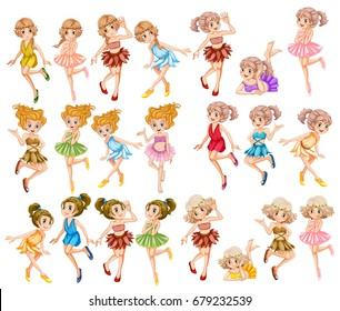 Beautiful fairies in colorful clothes illustration