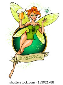 Beautiful Fairy with beer and magic stick, Leprechaun girl, St. Patrick's Day label design with sample text