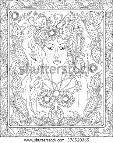Beautiful Fairy Coloring Book Adult Stock Vector (Royalty Free ...