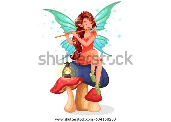 Красивая фея с длинными плетеными прически играть флейта