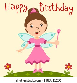 Beautiful fairy with a magic wand in cartoon style - happy birthday card.