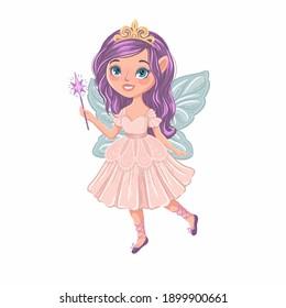 Beautiful fairy princess. Magic character design. Vector hand drawn illustration