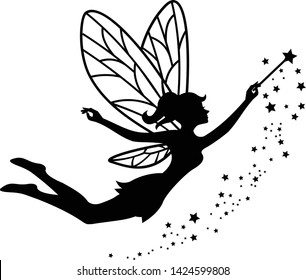 beautiful fairy silhouette vector template