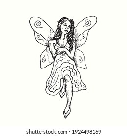 Beautiful fairy sitting isolated. Ink black and white doodle drawing in woodcut outline style. Vector illustration
