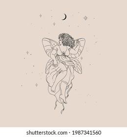Beautiful fairy. Vector hand drawn illustration