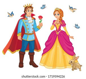 Beautiful fairytale Elf princess and prince with flower. Set characters. Children's illustration, for print and sticker. Isolated illustration on white background. Romantic story. Wonderland. Vector.
