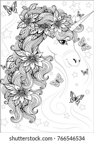beautiful fairy-tale horse or unicorn, with flowers in mane and hovering butterflies around. Anti-stress coloring for children and adults